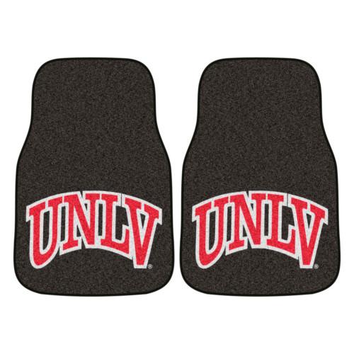 "Set of 2 Brown and Pink NCAA University of Nevada Las Vegas Rebels Carpet Car Mats 17"" x 27"" - IMAGE 1"