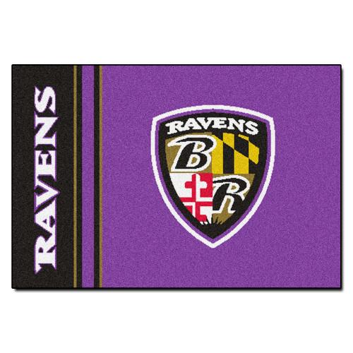"19"" x 30"" Purple and Black NFL Baltimore Ravens Starter Rectangular Door Mat - IMAGE 1"