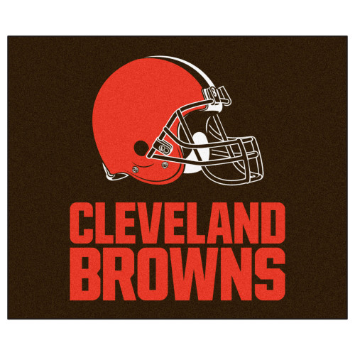 """59.5"""" x 71"""" Brown and Red NFL Cleveland Browns Tailgater Mat Rectangular Outdoor Area Rug - IMAGE 1"""