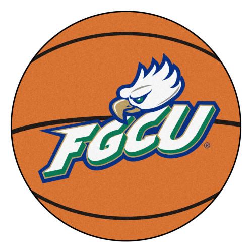"27"" Orange and White NCAA Florida Gulf Coast University Eagles Basketball Shaped Mat Area Rug - IMAGE 1"