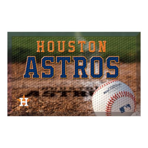 """Navy Blue and Brown MLB Houston Astros Shoe Scraper Doormat 19"""" x 30"""" - IMAGE 1"""
