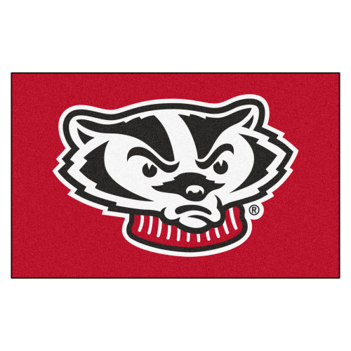 """59.5"""" x 94.5"""" Red and Black NCAA University of Wisconsin Badgers Rectangular Area Rug - IMAGE 1"""