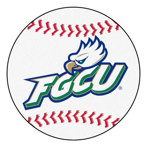 "27"" Gray and Green NCAA Florida Gulf Coast University Eagles Baseball Shaped Mat Area Rug - IMAGE 1"