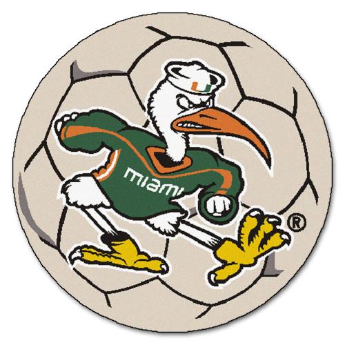 "27"" Gray and Green NCAA University of Miami Hurricanes Soccer Ball Round Door Mat - IMAGE 1"