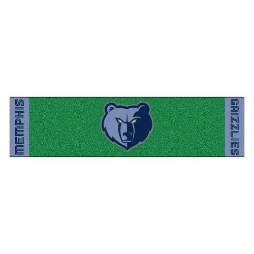 """18"""" x 72"""" Green and Blue NBA Memphis Grizzlies Golf Putting Mat - IMAGE 1"""