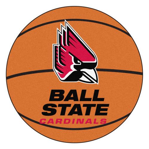"27"" Orange and Black Contemporary NCAA Ball State University Cardinals Basketball Round Mat - IMAGE 1"
