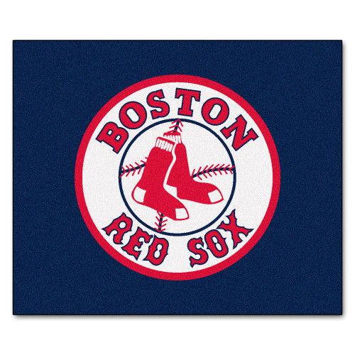 """59.5"""" x 71"""" Blue and White MLB Boston Red Sox Tailgater Mat Outdoor Area Rug - IMAGE 1"""