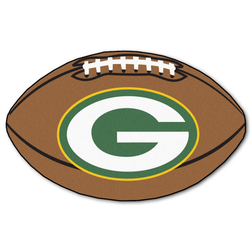 """20.5"""" x 32.5"""" Brown and White NFL Green Bay Packers Football Shape Mat - IMAGE 1"""