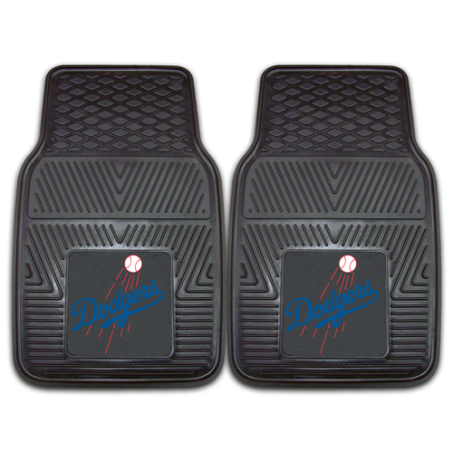 "Set of 2 Black and Blue MLB Los Angeles Dodgers Car Mats 17"" x 27"" - IMAGE 1"