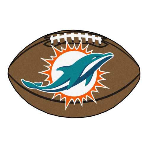 """20.5"""" x 32.5"""" Brown and Blue NFL Miami Dolphins Football Shaped Mat Area Rug - IMAGE 1"""