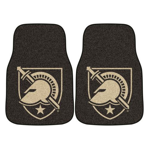 "Set of 2 Black and Beige U.S. Military Academy Carpet Car Mats 17"" x 27"" - IMAGE 1"