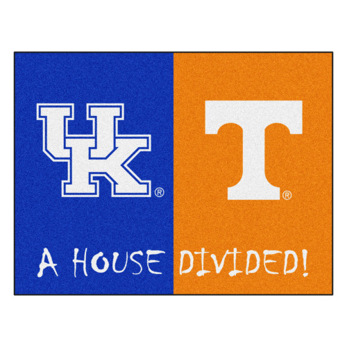 """33.75"""" x 42.5"""" Orange NCAA House Divided Kentucky and Tennessee Mat Area Rug - IMAGE 1"""