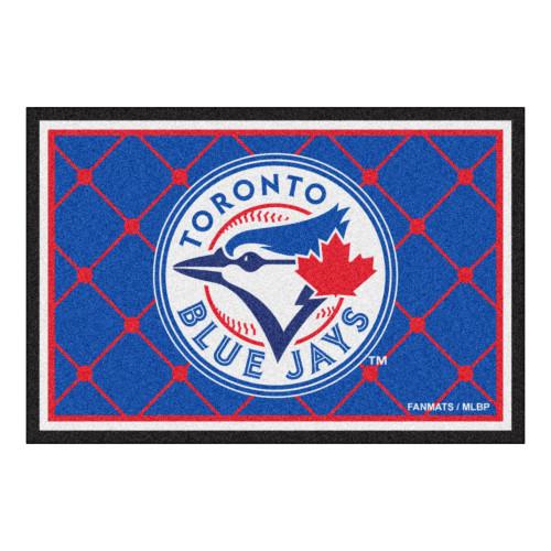 4.9' x 7.3' White and Blue MLB Toronto Blue Jays Plush Area Rug - IMAGE 1