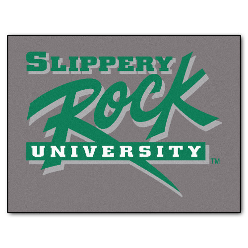 """33.75"""" x 42.5"""" Gray and Green NCAA """"Slippery Rock University"""" The Rock All Star Mat Area Rug - IMAGE 1"""