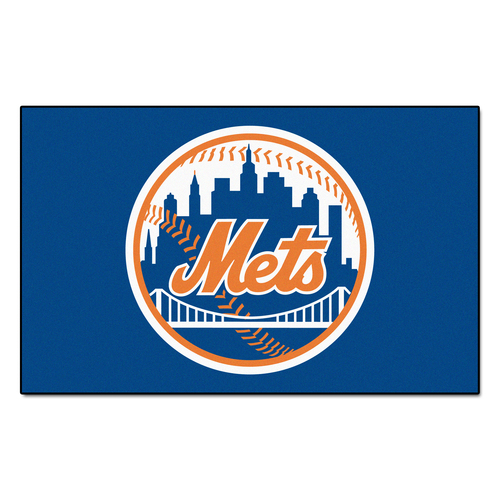 "59.5"" x 94.5"" Blue and Orange MLB New York Mets Ulti-Mat Rectangular Outdoor Area Rug - IMAGE 1"