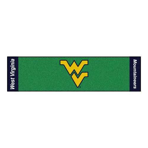 """18"""" x 72"""" Green and Yellow NCAA West Virginia University Mountaineers Golf Putting Mat - IMAGE 1"""