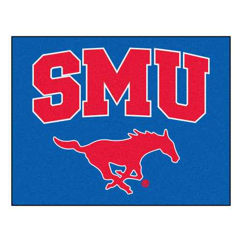 """32.5"""" x 42.5"""" Blue and Red NCAA Southern Methodist University Mustangs All Star Area Rug - IMAGE 1"""