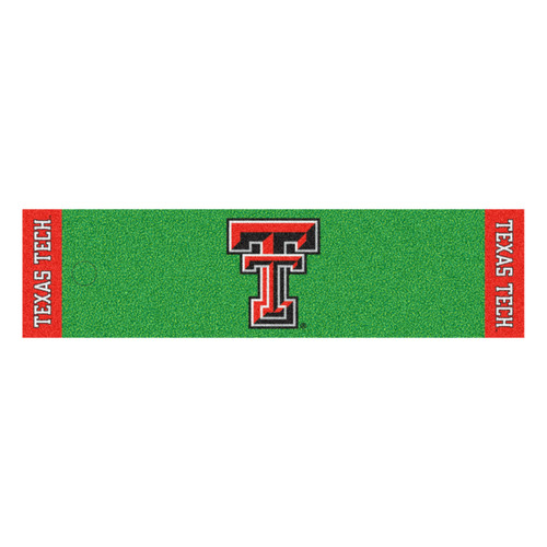 "18"" x 72"" Green and Red NCAA Texas Tech University Raiders Golf Putting Mat - IMAGE 1"