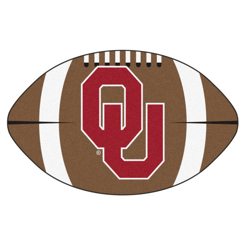 """20.5"""" x 32.5"""" Brown and Red NCAA University of Oklahoma Sooners Football Shaped Mat - IMAGE 1"""