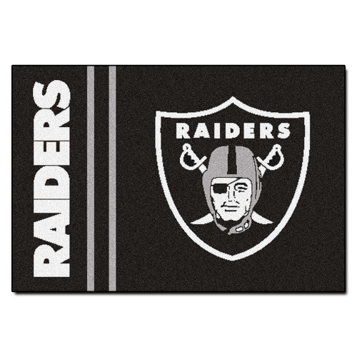 "19"" x 30"" Black and White NFL Oakland Raiders Starter Rectangular Door Mat - IMAGE 1"