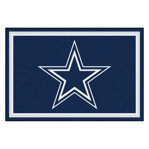 4.9' x 7.3' Blue and White NFL Dallas Cowboys Rectangular Plush Area Rug - IMAGE 1