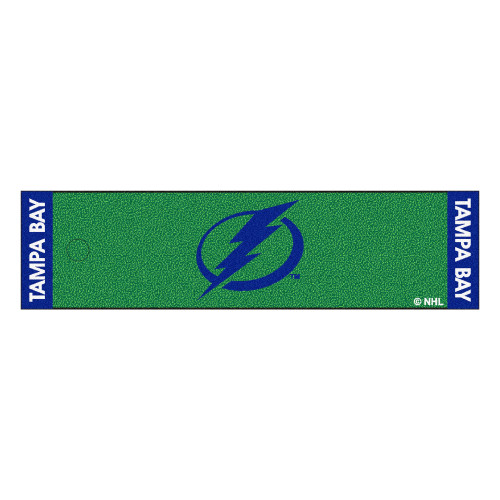 """18"""" x 72"""" Green and Blue NHL Tampa Bay Lightning Putting Mat Golf Accessory - IMAGE 1"""