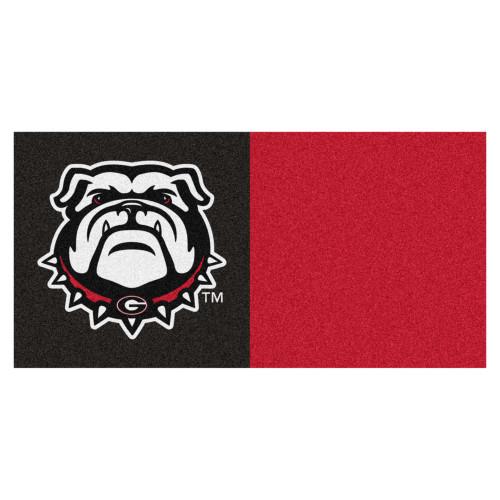 "20pc Black and Red NCAA University of Georgia Bulldogs Team Square Carpet Flooring Tiles 18"" x 18"" - IMAGE 1"