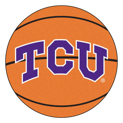 "27"" Orange and Blue NCAA Texas Christian University Horned Frogs Basketball Shaped Mat Area Rug - IMAGE 1"