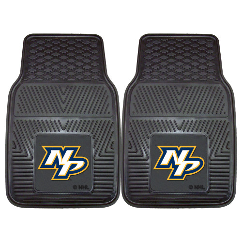 "Set of 2 Black and White NHL Nashville Predators Front Car Mats 17"" x 27"" - IMAGE 1"