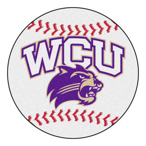 "White and Purple NCAA Western Carolina University Catamounts Baseball Welcome Door Mat 27"" - IMAGE 1"