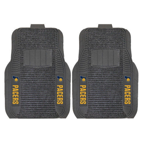 """Set of 2 Black and Yellow NBA Indiana Pacers Deluxe Front Car Mats 21"""" x 27"""" - IMAGE 1"""