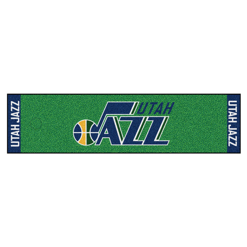 "18"" x 72"" Green and Blue NBA Utah Jazz Rectangular Golf Putting Mat - IMAGE 1"