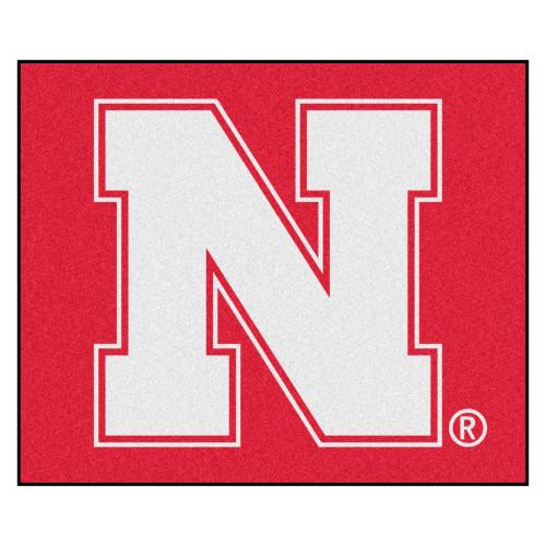 4.9' x 5.9' Red and White NCAA University of Nebraska Blackshirts Cornhuskers Tailgater Area Rug - IMAGE 1