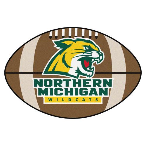 NCAA Northern Michigan University Wildcats Football Shaped Mat Area Rug - IMAGE 1