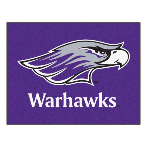 """33.75"""" x 42.5"""" Purple and White NCAA University of Wisconsin Whitewater Warhawks Rectangular Mat - IMAGE 1"""