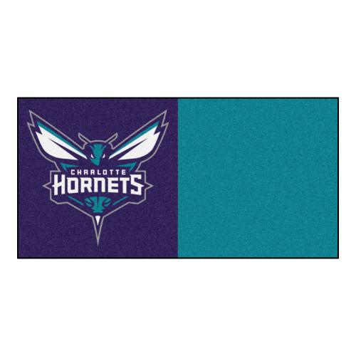 "20pc Purple and White NBA Charlotte Hornets Squares Team Carpet Flooring Tiles 18"" x 18"" - IMAGE 1"