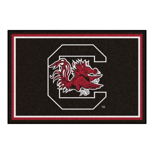 4.9' x 7.3' Black NCAA University of South Carolina Gamecocks Ultra Plush Rectangular Area Rug - IMAGE 1