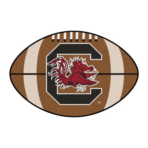 "20.5"" x 32.5"" Brown and Red NCAA University of South Carolina Gamecocks Football Area Rug - IMAGE 1"