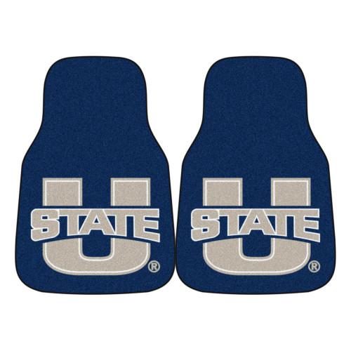 "Set of 2 Blue and Gray NCAA Utah State University Aggies Carpet Car Mats 17"" x 27"" - IMAGE 1"