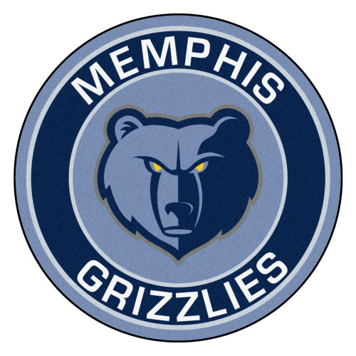 """27"""" Blue and White NBA Memphis Grizzlies Rounded Door Mat - IMAGE 1"""