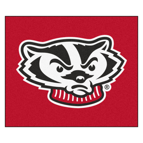 """59.5"""" x 71"""" Red and Black NCAA University of Wisconsin Badgers Tailgater Area Rug - IMAGE 1"""