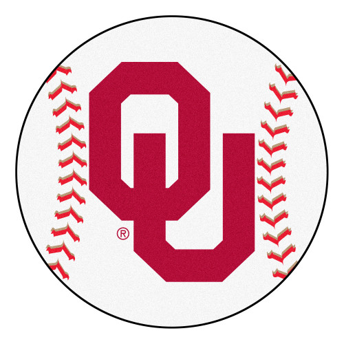 """27"""" White and Red NCAA University of Oklahoma Sooners Round Area Rug - IMAGE 1"""