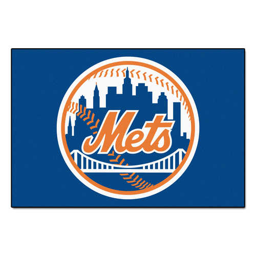 "Blue and Orange MLB New York Mets Rectangular Starter Door Mat 19"" x 30"" - IMAGE 1"