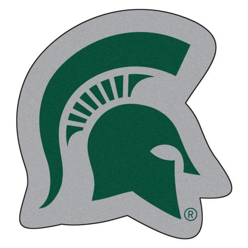 "30"" x 32"" Green and Gray NCAA Michigan State University Spartans Mascot Logo Shaped Door Mat - IMAGE 1"