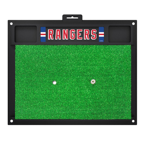 """20"""" x 17"""" Black and Green NHL New York """"Rangers"""" Golf Hitting Mat Practice Accessory - IMAGE 1"""