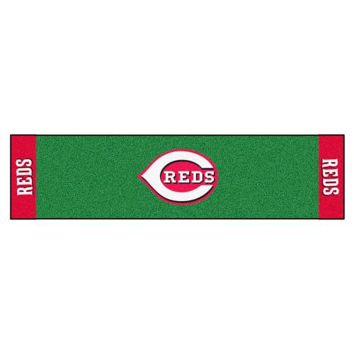 "18"" x 72"" Green and Red MLB Cincinnati Golf Putting Mat - IMAGE 1"