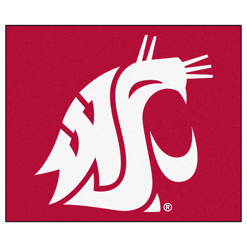 """59.5"""" x 71"""" Red and White NCAA Washington State University Cougars Tailgater Mat Outdoor Area Rug - IMAGE 1"""