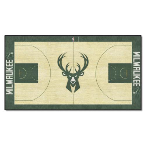 "29.5"" x 54"" Green and Pale Yellow NBA Milwaukee Bucks Court Large Mat Area Rug Runner - IMAGE 1"