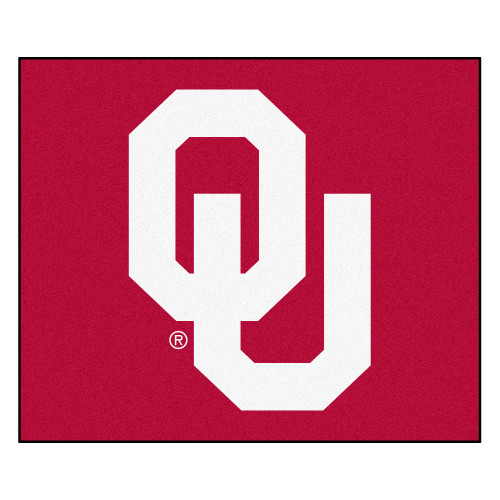 """59.5"""" x 71"""" Red and White NCAA University of Oklahoma Sooners Tailgater Mat Outdoor Area Rug - IMAGE 1"""