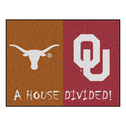 "33.75"" x 42.5"" Orange NCAA House Divided Texas and Oklahoma Rectangular Mat - IMAGE 1"
